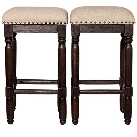 Beige Rustic Style Wood Backless Counter Height Stools with Cushions Set of 2