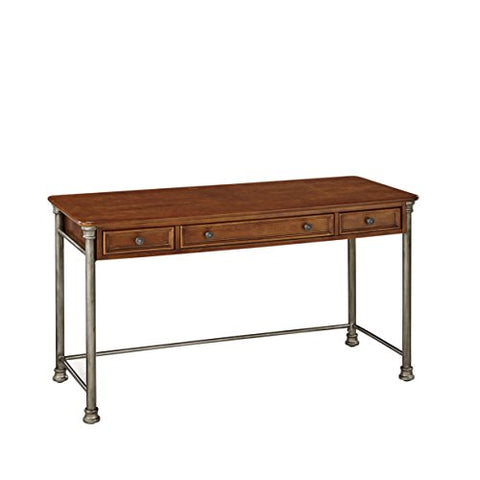 Classic Contemporary Wood and Metal Executive Writing Desk with 3 Drawers