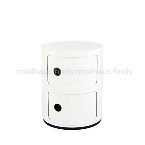 Retro Modern Ferrieri Style 2 Tier Componibili White Storage Cabinet End Table with Tray Top