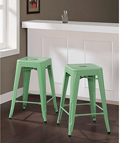 Set of 2 Mint Green French Bistro Tolix Style Metal Counter Stools in Glossy Powder Coated Finish