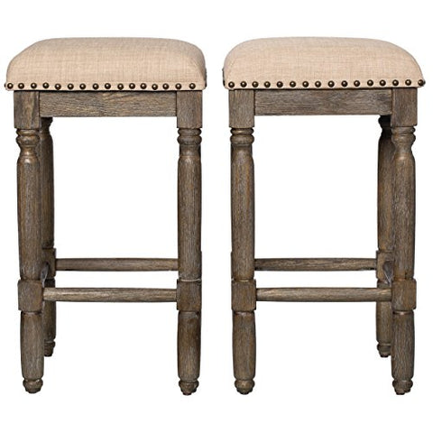 Modern Rustic Style 26-inch Reclaimed Wood Look Backless Counter Height Bar Stools with Beige Upholstery Seats | Brown Wood Finish (Set of 2)