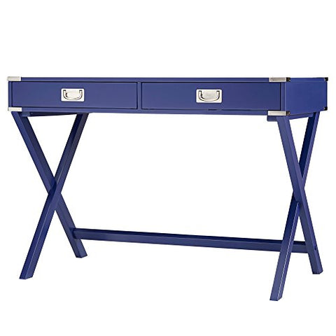 Modern Wood Accent X Base Navy Blue Student Computer Writing Office Desk with 2 Drawers