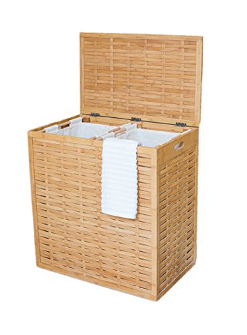 BirdRock Home Oversized Divided Clothes Laundry Hamper | Made of Natural Bamboo