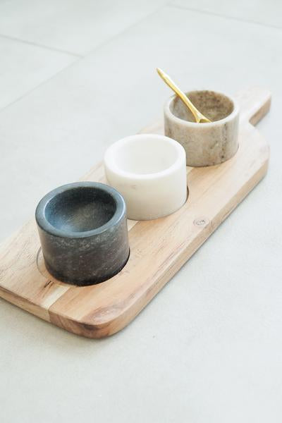 Acacia Wood Board w/ 3 Marble Pots & Brass Spoon