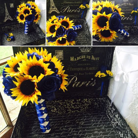 Sunflower Bouquet, Sunflower Royal Blue Rose Wedding Bouquet, Blue Yellow Bouquet, Sunflower Bridal Bouquet, Rustic Bouquet