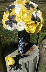 17 Piece Yellow White Ranunculus Bridal Bouquet Wedding Flower Set with Black accents - Silk Flowers By Jean