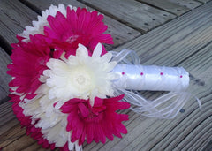 Fuchsia Daisy Bouquet Bridal Bouquet Wedding Bouquet, Fuchsia Bouquet - Silk Flowers By Jean