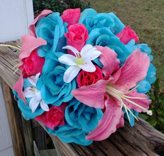 Malibu Blue Hot Pink Rose Coral Lily Wedding Bouquet, Coral Turquoise Bouquet - Silk Flowers By Jean