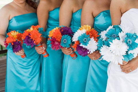 15 Piece Colorful Silk Daisy Wedding Bouquet Set with Matching Boutonnieres & Corsages