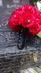 Silk Red Rose Wedding Bouquet wrapped in Black - Silk Flowers By Jean