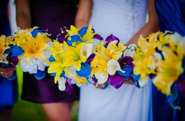 17 piece Real Touch Royal Blue Yellow Bridal Bouquet Wedding Flower Set, Royal Blue Bouquet, Blue white bouquet, Horizon Blue Bridesmaid - Silk Flowers By Jean