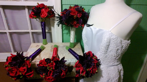 14 Piece Red Eggplant Wedding Bouquet Set, Real Touch Red Rose