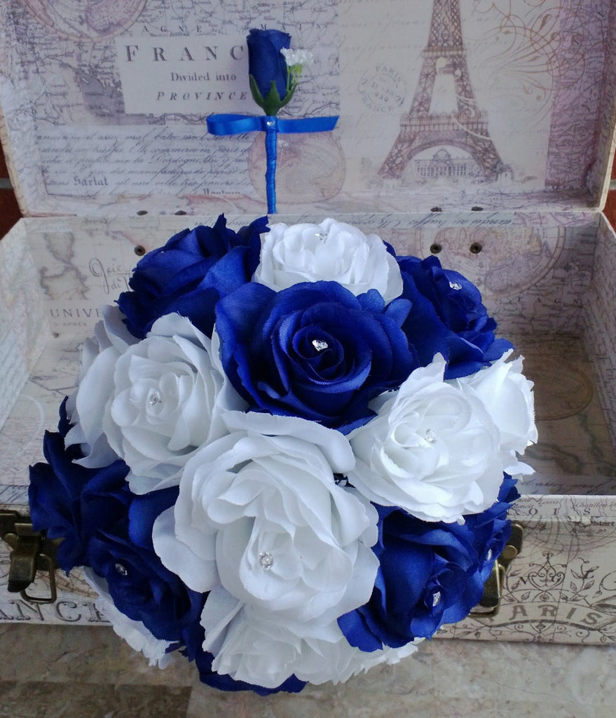 Royal Blue White Rose Bouquet, Royal Blue White Bouquet - Silk Flowers By Jean