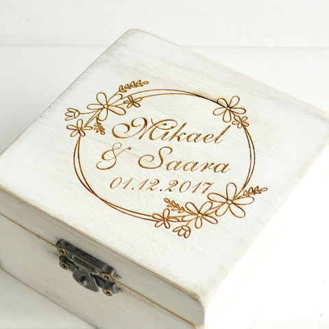 Personalized White Wedding Ring Box Custom Name Rustic Ring Bearer Box