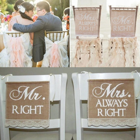 Wedding Banners Mr&Mrs 2Pcs/set Burlap Chair Sign Rustic Right Vintage Wedding Decoration for Groom and Bride