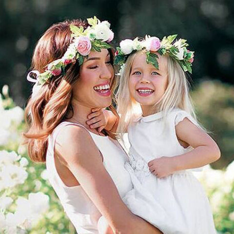 Mom and Kids Baby Girl Rose Flower Wreath Festival Wedding Crown Headband Hair Bands Photography props Hair Accessories