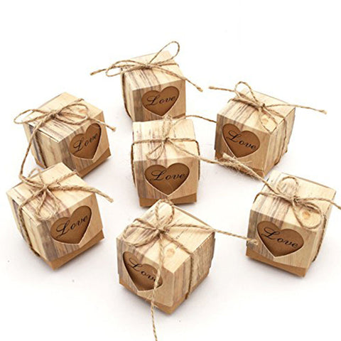 Party Favor Candy Box Love Rustic Kraft Gift Box