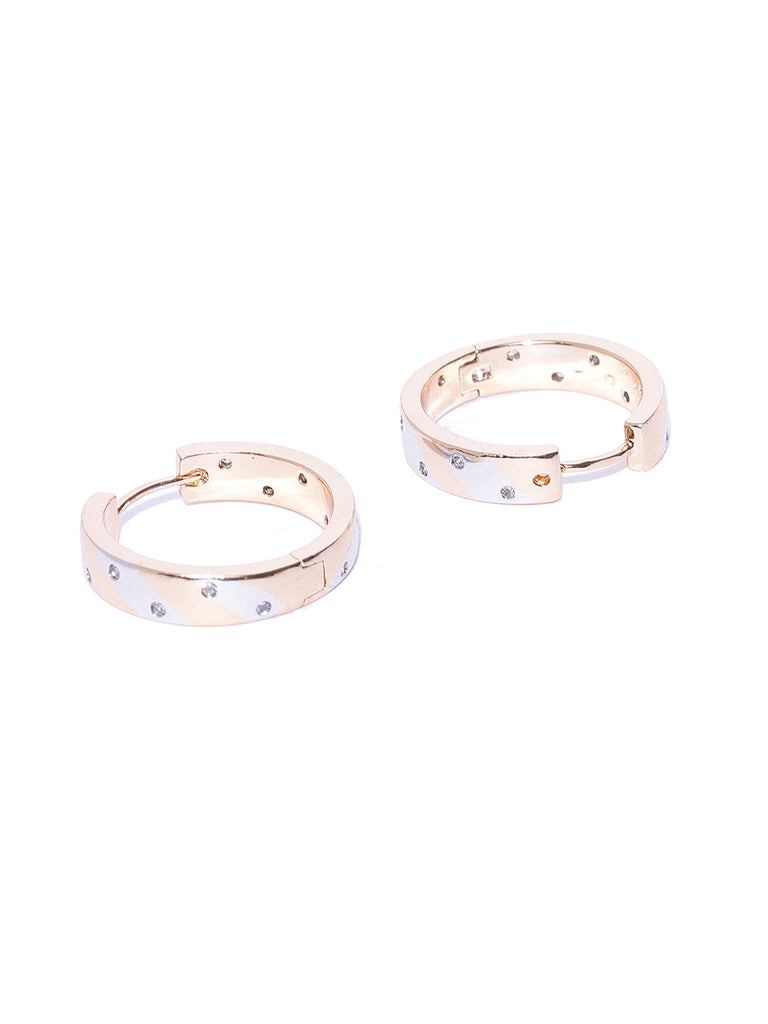 Zaveri Pearls Cubic Zirconia Studded Two Tone Contemporary Hoop Earring