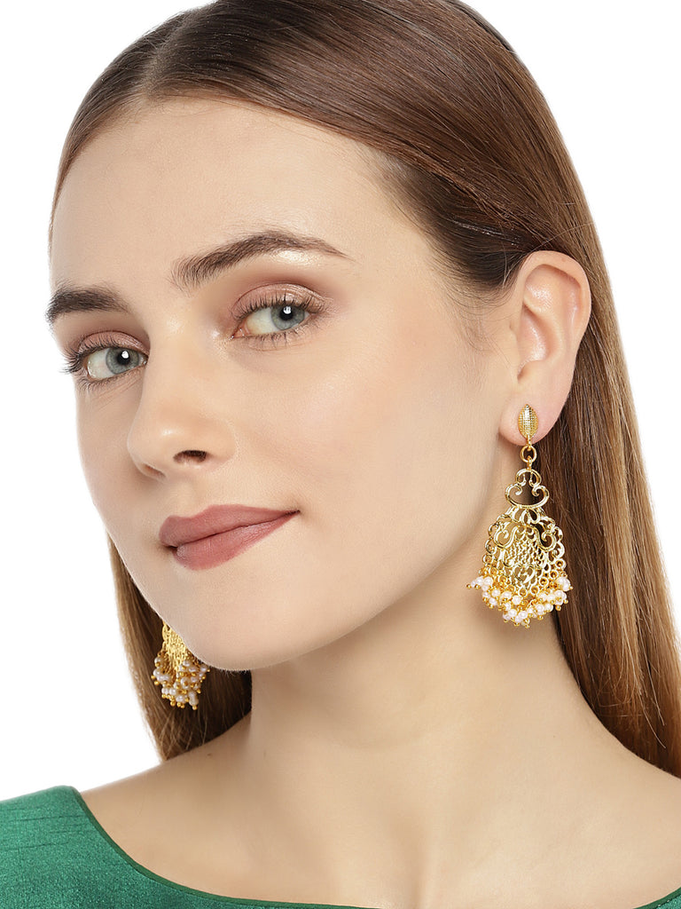 Zaveri Pearls Gold Tone Traditional Pearls Dangle Earring