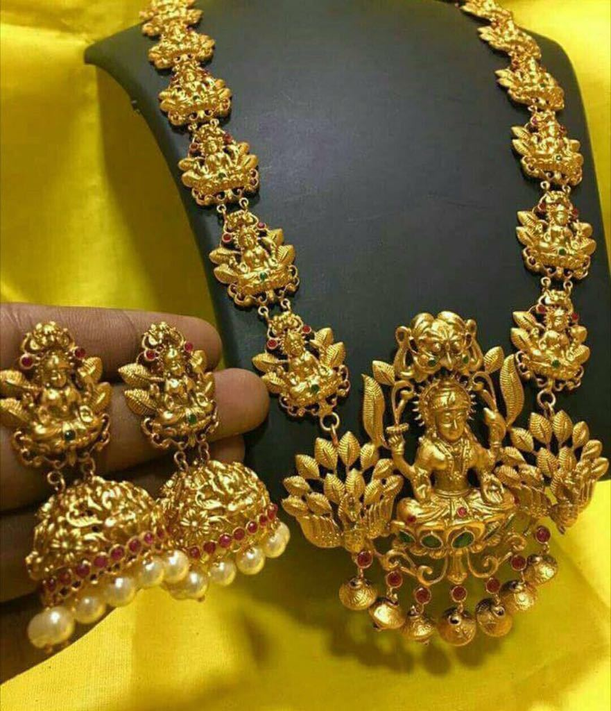 Gold Plated Temple Lakshmi Haram Set With Jhumka