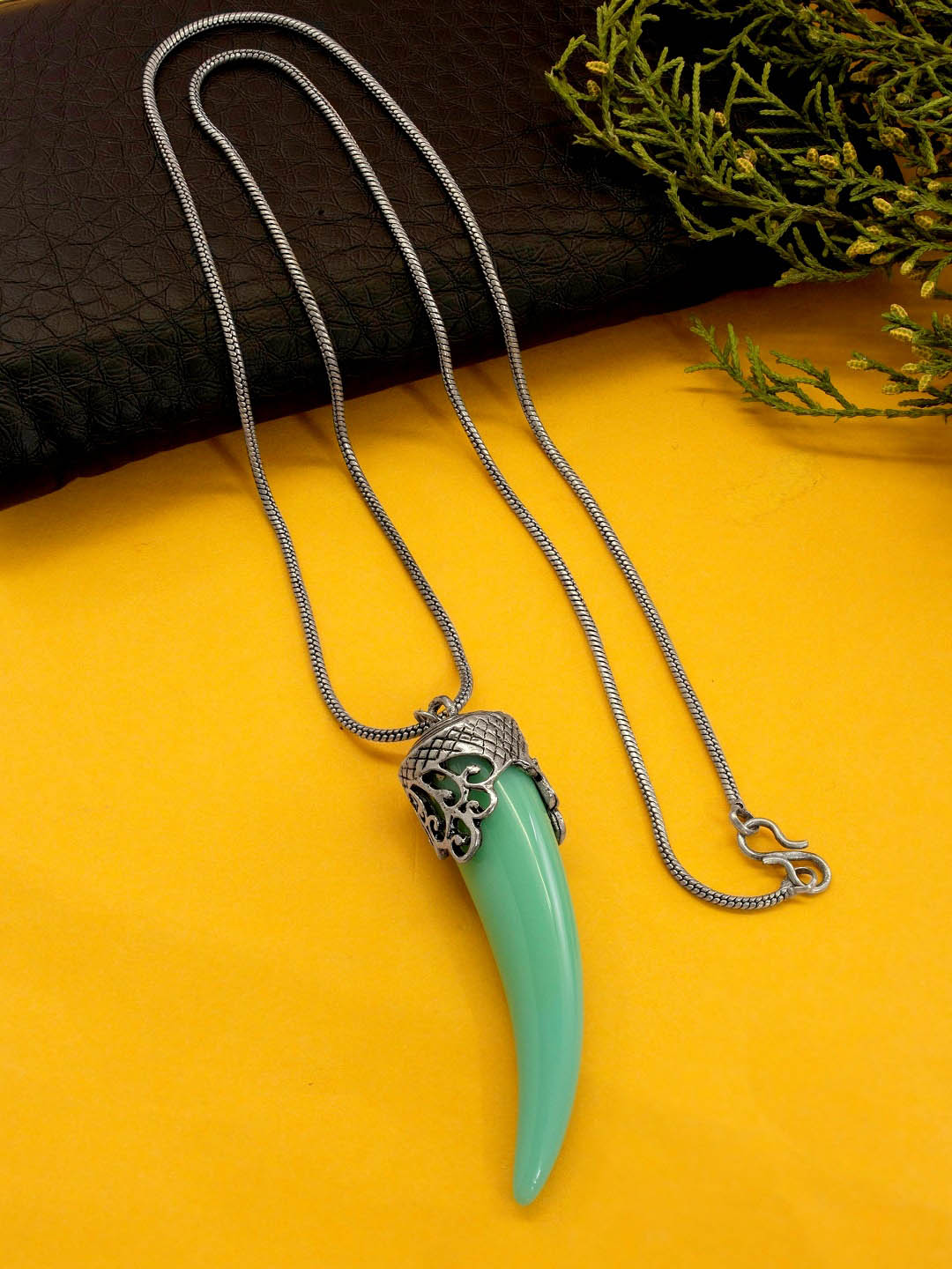 Shana Fashion Oxidized Silver Chain Green Elephant Tusk Pendant Necklace