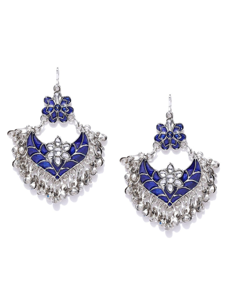 Zaveri Pearls Antique Silver Tone Beautifully Enamelled Dangle And Drop Earring