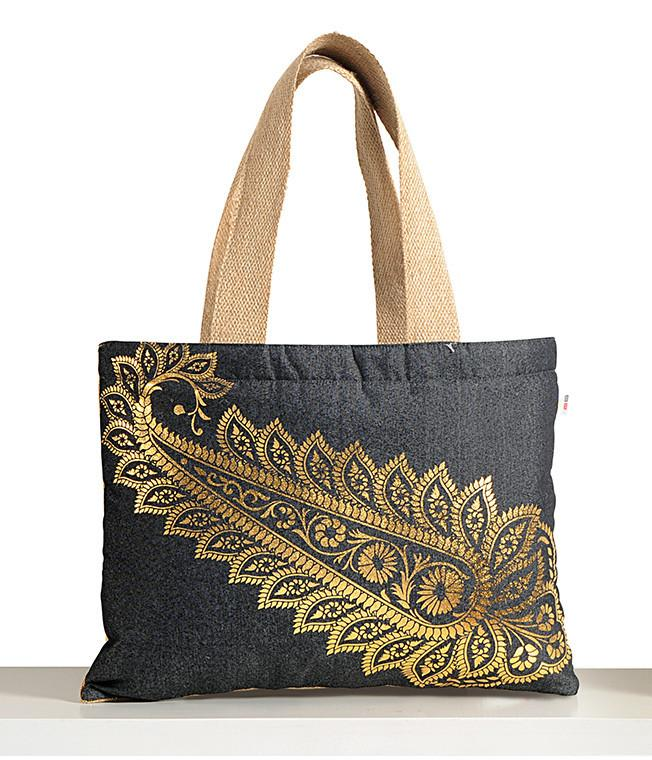 PETALS DENIM JUTE BAG - Flickdeal.co.nz