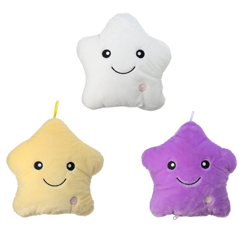 LED Light Star Stuffed Plush Cushion Sofa Pillow Glow Kid Toy Gift Home Decor UK