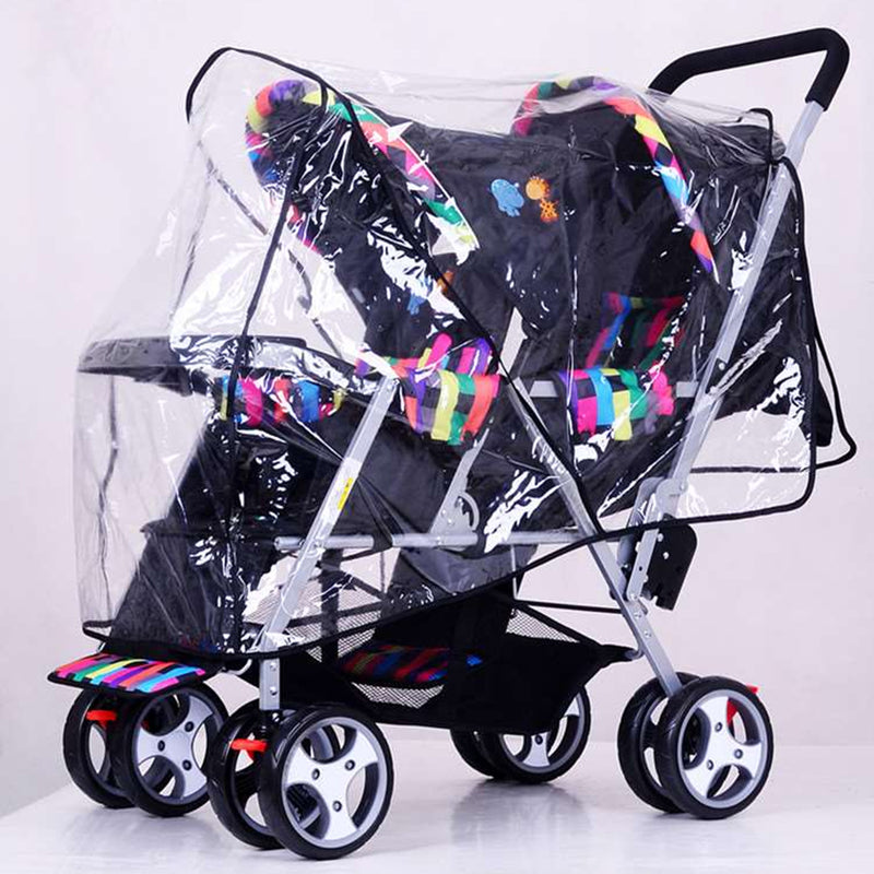 Clear Stroller Rain Cover Weather Pram Baby Infant Double Pushchair Wind Shield Raincoat