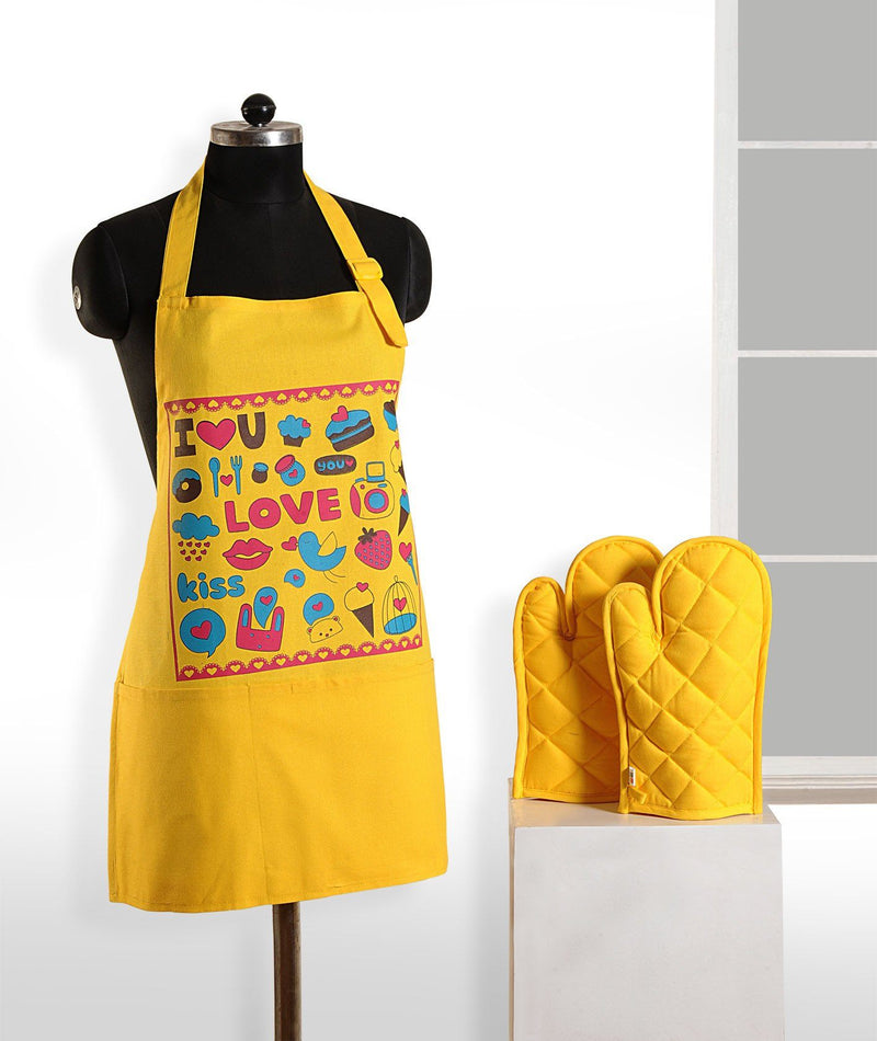 YELLOW LOVE APRON AND GLOVES - Flickdeal.co.nz