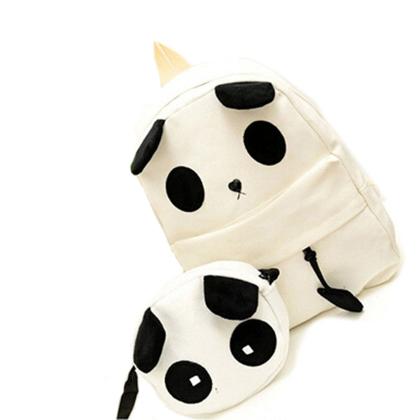 Canvas Cute Panda Pattern School Bag Women's Handbag Backpack
