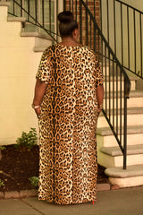 Curvy Leopard Split Tee Dress