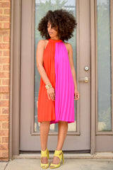 Colorblock Pleat Halter Dress