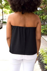 Split Back Strapless Top -Black