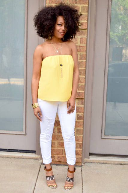 Split Back Strapless Top -Yellow