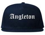 Angleton Texas TX Old English Mens Snapback Hat Navy Blue
