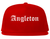 Angleton Texas TX Old English Mens Snapback Hat Red