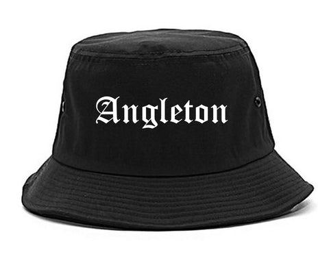 Angleton Texas TX Old English Mens Bucket Hat Black