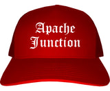 Apache Junction Arizona AZ Old English Mens Trucker Hat Cap Red