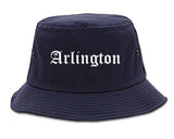 Arlington Texas TX Old English Mens Bucket Hat Navy Blue
