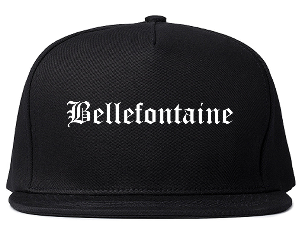 Bellefontaine Ohio OH Old English Mens Snapback Hat Black