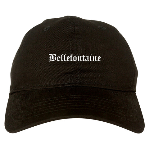 Bellefontaine Ohio OH Old English Mens Dad Hat Baseball Cap Black