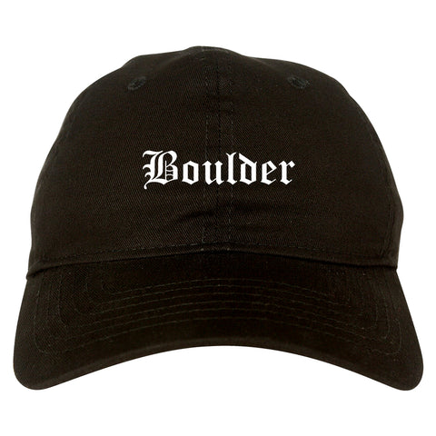 Boulder Colorado CO Old English Mens Dad Hat Baseball Cap Black