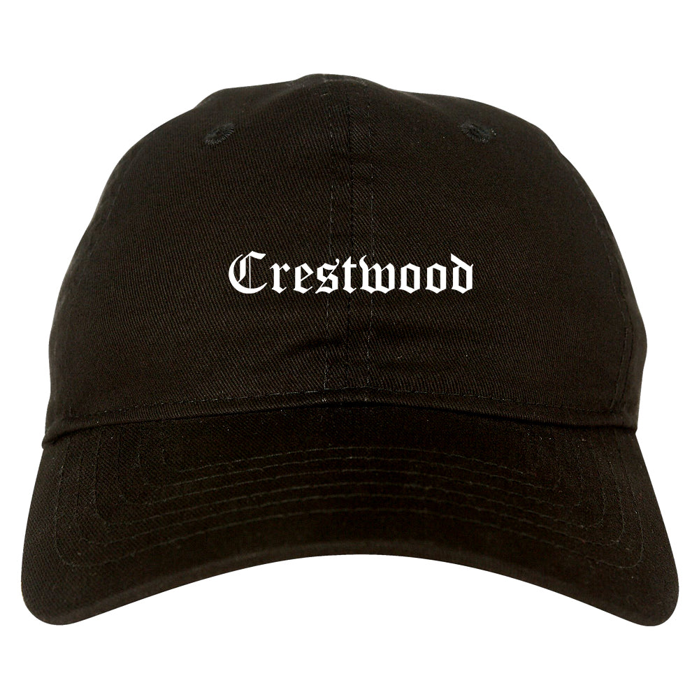 Crestwood Missouri MO Old English Mens Dad Hat Baseball Cap Black