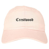 Crestwood Missouri MO Old English Mens Dad Hat Baseball Cap Pink
