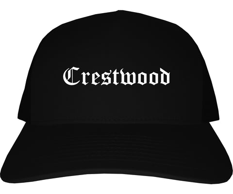 Crestwood Missouri MO Old English Mens Trucker Hat Cap Black