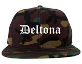 Deltona Florida FL Old English Mens Snapback Hat Army Camo