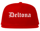 Deltona Florida FL Old English Mens Snapback Hat Red