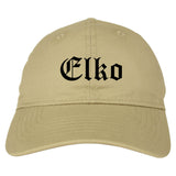 Elko Nevada NV Old English Mens Dad Hat Baseball Cap Tan