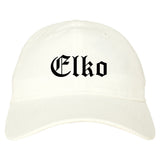 Elko Nevada NV Old English Mens Dad Hat Baseball Cap White